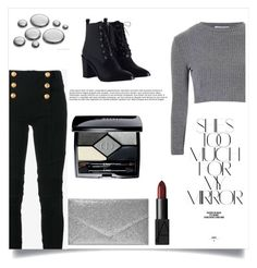 """""""Grey and Black"""" by nevaehkern ❤ liked on Polyvore featuring Balmain, Glamorous, Zimmermann, Boohoo, NARS Cosmetics, Christian Dior, Rika, autumn, fashionset and falltrend"""