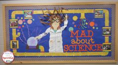 Mad About Science- the perfect bulletin board to display after Christmas, especially love the idea of changing out the photos!