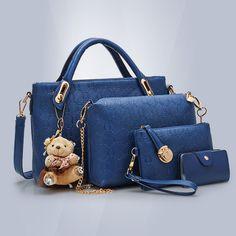 4 PCS/Set 2017 Women Bags Handbag Fashion Four Female Bag Women Leather Handbags Messenger Bag Purses And Crossbody Bags Clutch