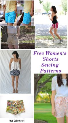 Free Women's Shorts Sewing Patterns | free patterns for women's shorts Pleated Shorts, Lounge Shorts, Women's Shorts, Patterned Shorts, Sewing Patterns Free, Free Sewing, Free Pattern, Mood Fabrics, Purl Soho