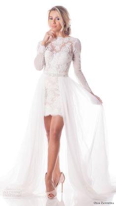 olia zavozina bridal spring 2017 long sleeve lace corset lace mini skirt 3 piece wedding dress (viola) fv tulle overskirt