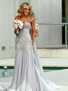 stunning grey wedding dress