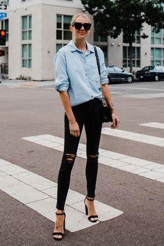 2f62a07e6bd Blonde Woman Wearing Topshop Oversized Denim Shirt Topshop Black Ripped  Skinny Jeans Steve Madden Black Ankle