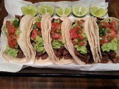 Carne asada tacos with guacamole and pico de gallo, Mexico
