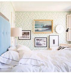 blue headboard with textured frame & green patterned wallpaper + cozy chair & gallery wall Serene Bedroom, Beautiful Bedrooms, Home Bedroom, Bedroom Decor, Pretty Bedroom, Bedroom Wall, My New Room, My Room, Blue Headboard