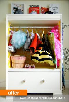old tallboy dresser transformed it into a darling kid-sized costume closet