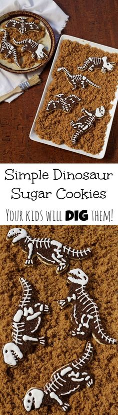 Simple dinosaur cookies are dinosaur skeleton sugar cookies decorated with royal icing and they are so simple to make, you don't need a pattern. Super Cookies, Fancy Cookies, Iced Cookies, Royal Icing Cookies, Cookie Desserts, Cupcake Cookies, Dinosaur Cookies, Dinosaur Cake, Dinosaur Birthday Party