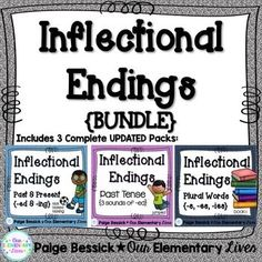 Inflectional Endings {BUNDLE}  Includes everything you need to teach, review or supplement teaching your inflectional endings lessons.  Includes -ed, -ing, -s, -es, -ies, and three sounds for -ed.