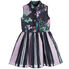 Young Versace Girls Black & Lilac Floral Shirt Dress at Childrensalon.com