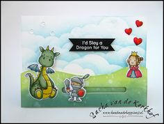 Handmade Happiness (by Sacha) | MFT Stamps | Magical Dragons | Slider Card | My Favorite Things | Spectrum Noir Alcohol Markers | Love #mftstamps #handmadehappiness #magicaldragons #spectrumnoir #alcoholmarkers #ranger #distressoxide #friendship #papercraft #homemade #slidercard