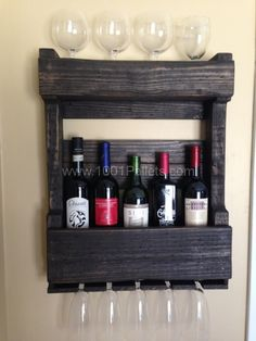Shelves Pallet Pallets Wall Wine Rack Kitchen Pallet Projects Pallet Shelves - We had made some wine racks (also shown) in the past and had a few extra Ball jars around and … Wine Rack Wall, Wine Wall, Wall Racks, Hanging Wine Rack, Barn Wood Crafts, Pallet Crafts, Diy Pallet Projects, Pallet Ideas, Do It Yourself Furniture