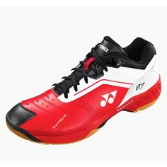 Yonex SHB 87 EX Badminton Shoes For Men. Buy Yonex SHB 87 EX Badminton Shoes in India. Only Genuine Products. 15 Days Replacement Guarantee, Free Shipping, COD Available. Yonex Badminton Shoes, Men Online, Black Power, Shoes Online, Red And White, Fitness, Sneakers, Leather, Stuff To Buy