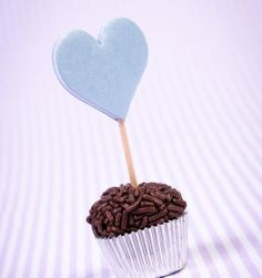 Palitinho para cupcake coração azul