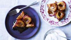 Plum and marzipan tarte tatin