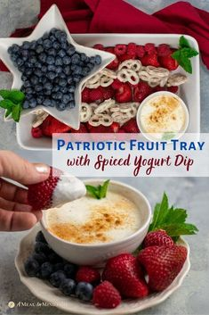 A flag design of fruit to celebrate Memorial Day or July -- yes, please! Berries are popular at any gathering and almost anyone can eat them. Serve alongside a refreshing and slightly sweet, cinnamon-yogurt dip. Summer Drink Recipes, Fruit Recipes, Snack Recipes, Dessert Recipes, Gluten Free Recipes For Kids, Easy Gluten Free Desserts, Diabetic Recipes, Vegetarian Recipes, Yogurt Covered Pretzels