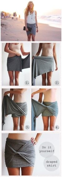 No Way! DIY Draped Skirt (aka the coolest way ever to wear your beach towel!)