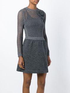 Valentino, open knit longsleeved dress