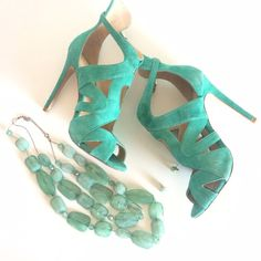 HP ZARA gladiator heels Super cute and surprisingly comfortable heels. Light suede. Teal. 4 inches. Perfect for Spring and Summer nights. Please do not bundle. No trades. FIRM PRICE Zara Shoes Heels