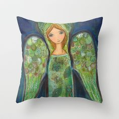 Angel Verde by Flor Larios Throw Pillow by Flor Larios Art - $20.00