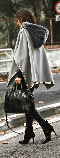 #street #style / gray cape + leather