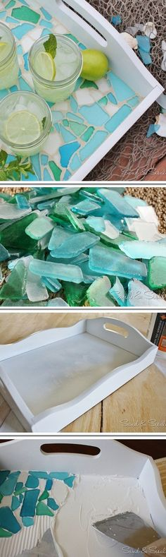 Check out this easy idea on how to make a #DIY sea glass mosaic serving tray for #kitchen #homedecor on a #budget #crafts #project @istandarddesign