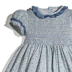 Classic Hand Smocked Blue Floral print Dress