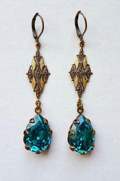 Vintage Style Peacock Blue Earrings by LaPlumeNoir on Etsy