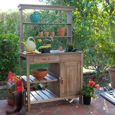 Rustic Distressed Finish Garden Potting Bench