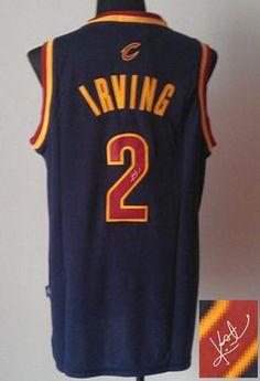 e7e720e0e Revolution 30 Autographed Cavaliers  2 Kyrie Irving Navy Blue Stitched NBA  Jersey Retro Nba Jerseys
