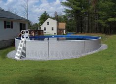 The Radiant Semi-Inground Grecian Pool is the perfect backyard centerpiece for summer poolside barbecues, or for soaking up the sun in your favorite lounge. Swimming Pool Prices, Above Ground Swimming Pools, Above Ground Pool, In Ground Pools, Blue Haven Pools, Semi Inground Pools, Stock Tank Pool, Concrete Pool, Fiberglass Pools