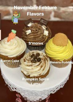 Carrot Banana Cake, Gourmet Cupcakes, Pumpkin Spice Latte, November 2019, Banana Pudding, Carrots, Spices, Passion, Desserts