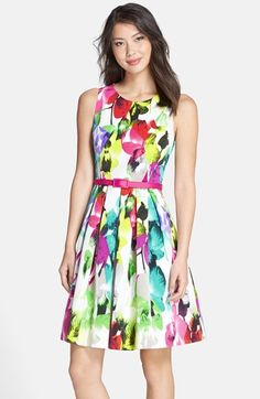 Eliza J Belted Print Faille Fit & Flare Dress available at #Nordstrom