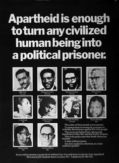 Apartheid protesters arrested for speaking their mind. Political Prisoners, Political Art, African Culture, African History, Nelson Mandela Apartheid, English Posters, South Afrika, Mary Tyler Moore Show, Pop Culture Art