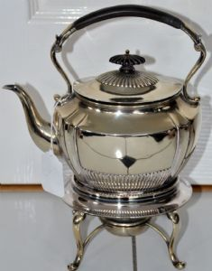 ANTIQUE ~ HENRY STRATFORD Silver Plated Hinged SPIRIT KETTLE by HENRY STRATFORD (SHEFFIELD ) English