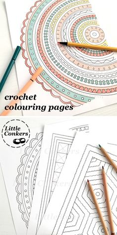 Printable crochet coloring pages with designs inspired by crochet patterns and different crochet stitches. Colour mandalas, granny squares, hexagons and more.