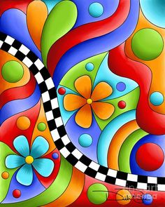 Digital Art - Checkerboard Flowers by Debi Payne Retro Cosmic+Sun This Would also Make an Incredible Art Project on Canvas!-- Jaye January Sherry Shipley Celestial by 25 de 200 Parte As + Lindas Ideas islamic mosaic art for kids for 2019 Calendar Pop Art, Art Fantaisiste, Funky Painted Furniture, Colorful Artwork, Whimsical Art, Mosaic Art, Doodle Art, Art Lessons, Painted Rocks
