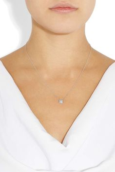 Spike 18-karat white gold diamond necklace on Wantering