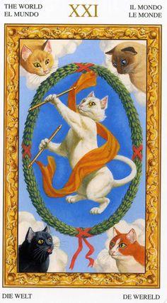 XXI - Le monde - Tarot chats blancs par Severino Baraldi