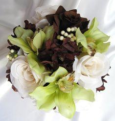 Wedding bouquet BROWN CREAM GREEN Bridal flowers by Rosesanddreams