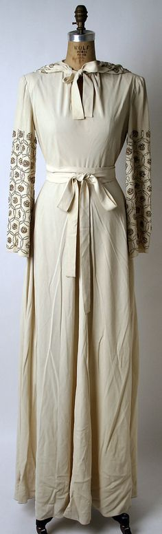 Wedding dress Norman Norell (American, Noblesville, Indiana New York) Date: 1942 Culture: American Medium: silk Dimensions: [no dimensions available] Credit Line: Gift of Traina-Norell, Inc. Textiles, 1940s Fashion, Vintage Fashion, Vintage Dresses, Vintage Outfits, Vintage Clothing, 1940s Outfits, Retro, 1930s Dress