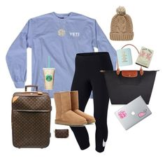 """""""::The Flight::"""" by oh-so-rachel ❤ liked on Polyvore featuring NIKE, UGG Australia, Longchamp, Louis Vuitton, Vineyard Vines, Kate Spade, Chicnova Fashion, women's clothing, women and female"""