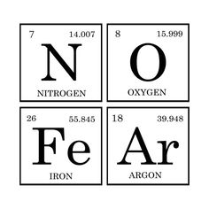 Check out this awesome no+fear+periodic+table design on teepublic! 112 cartoon elements make learning the periodic table fun Chemistry Posters, Science Chemistry, Science Facts, Science Experiments, Science Classroom, Teaching Science, Teaching Reading, Periodic Table Words, Funny Science Jokes