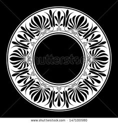 Circle ornament. Round frame, rosette of ancient elements. Greek national antique round pattern, vector. - stock vector