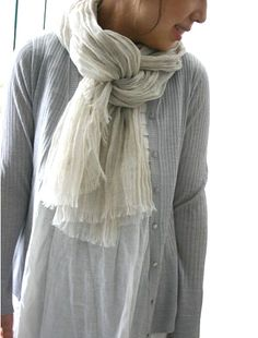 so me! ....white tunic with grey sweater and scarf.