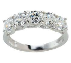Epiphany Diamonique 2.00 ct tw 100-Facet 5-Stone Ring