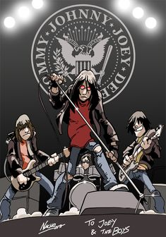 Fathers of Punk Rock. Romantic, agressive, crazy, one of biggest bands in Rock history. They deserved a better career on their own country but were real. Ramones on Stage Punk Art, Arte Punk, Rock Posters, Band Posters, Concert Posters, Ramones, Grunge, Punk Rock, Rock And Roll