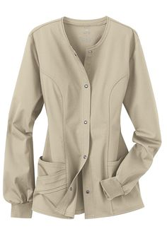 Cherokee Luxe Collection stretch scrub jacket. In navy blue or white.