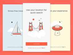 Onboarding Cards http://ift.tt/1JF77rS Onboarding cards for a travel app. Illustrations are part of a full set coming soon at UI8 - - - Our Marketplace |  Twitter |  FB |  IG