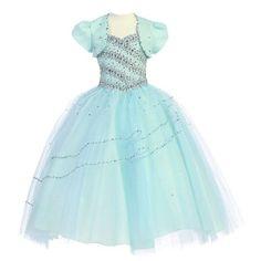 Calla Collection Little Girls Aqua Mint Beaded Accent Pageant Dress 5