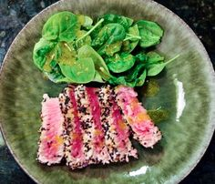 Sesame Seared Tuna with Lime Ginger Vinaigrette.